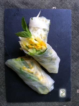 Spring roll cucumber, mint, mango and avocado http://wp.me/p3iY4S-eb