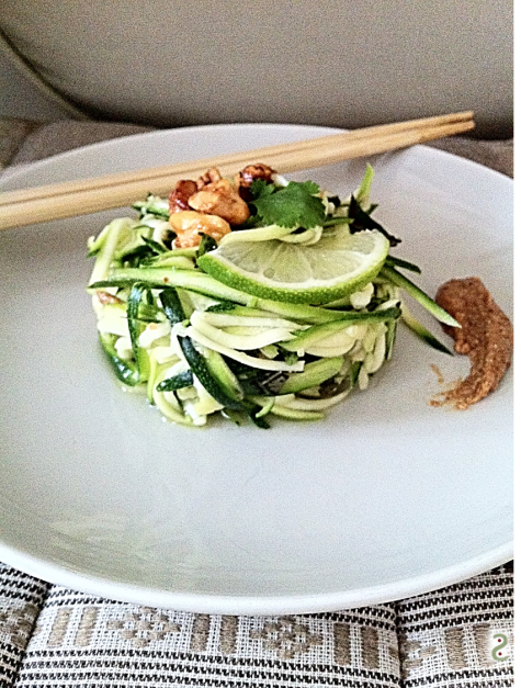 Raw zucchini fusion salad and home-made peanut butter http://wp.me/p3iY4S-yf