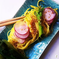 Yuzu soba, radish, sesame and emadame #light #fusion #glutenfree