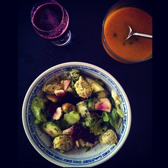 salad with green peas pesto, beetroot ginger peer juice and carrot velouté